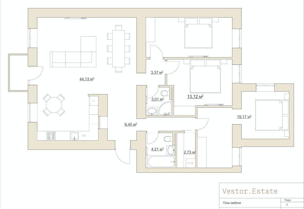 Mykhaila Kotsyubyns'koho 6 apartment plan