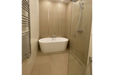 bathroom with shower and bathtube