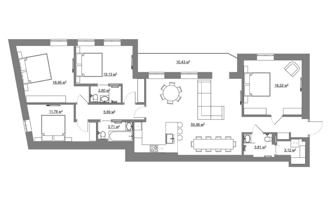 Yaroslaviv Val 14g apartment plan