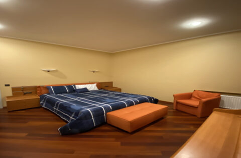 bedroom with blue bed