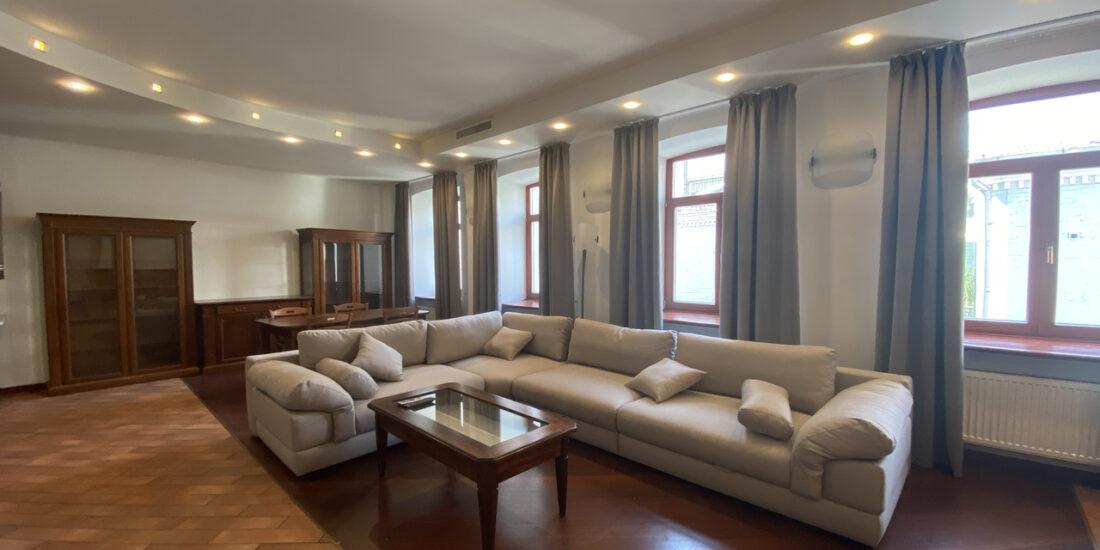 spacious living room with grey sofa