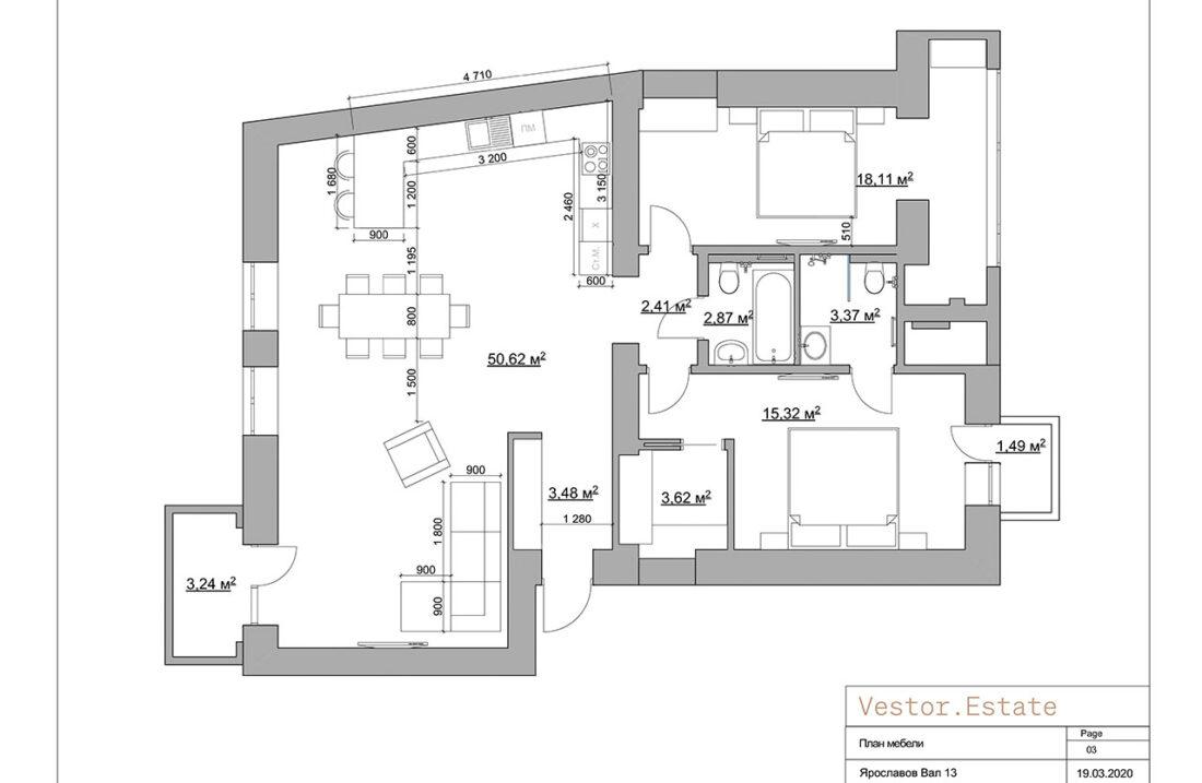 Yaroslaviv Val 13 apartments plan