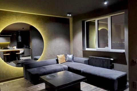 dark sofa