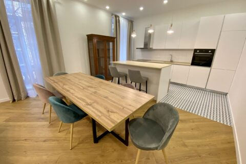 wooden table in kitchen