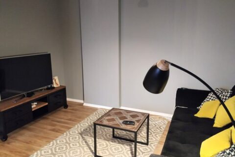 tv and sofa with yelllow pillows