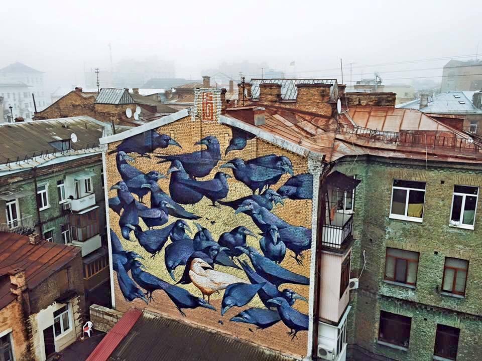 mural on reitarska kiev